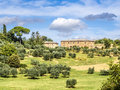 Typical tuscany house image of a in italy with trees and meadows Royalty Free Stock Photos