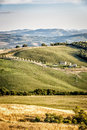 Typical tuscany landscape image of with meadow house and hills Stock Photo