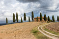 Typical tuscany landscape italy and farm Royalty Free Stock Images