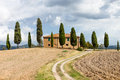 Typical tuscany landscape italy and farm Royalty Free Stock Image