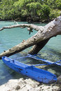 Typical Vanuatu boat - Blue Hole Royalty Free Stock Photo