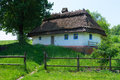 Typical village house in ukrainian countryside with gardens around Royalty Free Stock Images
