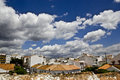 Typical white andalusian village in malaga with cloudly sky Royalty Free Stock Photography
