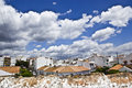 Typical white andalusian village in malaga with cloudly sky Royalty Free Stock Photos