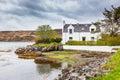 Typical white scottish house countryside isle of skye scotland Stock Image