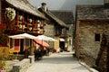 Typisch dorp in de Zwitserse Alpen Royalty-vrije Stock Foto's