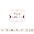 Typographic badges - Happy Easter. On the basis of script fonts, handmade. It can be used to design your printed