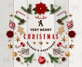 Typographic composition of christmas Postcard with vintage label and Christmas wishes decorated with Festive Elements. Royalty Free Stock Photo