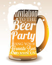 Typographic invitation to the beer party with mug eps Royalty Free Stock Images
