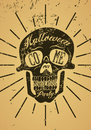 Typographic retro grunge Halloween poster with skull. Vector illustration. Royalty Free Stock Photo