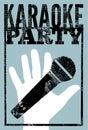 Typographic retro grunge karaoke party poster. Vector illustration. Royalty Free Stock Photo