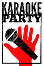 Typographic retro grunge karaoke party poster. Vector illustration. Royalty Free Stock Photo