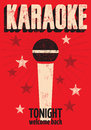 Typographic retro grunge karaoke poster. Vector illustration. Royalty Free Stock Photo