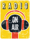 Typographic retro grunge radio station poster. Microphone On air. Vector illustration. Royalty Free Stock Photo