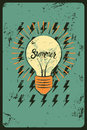 Typographic retro grunge summer poster. Stylized shining light bulb. Vector illustration. Royalty Free Stock Photo