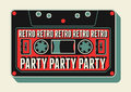 Typographic retro party poster design with an audio cassette vintage vector illustration Royalty Free Stock Photography