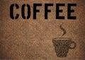 Typographic symbol coffee on sacking