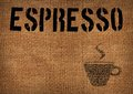 Typographic symbol cup coffee printed burlap Stock Images