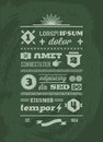 Typographic typographic vintage retro infographics with shield ribbon Royalty Free Stock Image