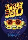 Typographic vintage Space Disco Party poster design. Retro vector
