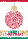 Typographical merry christmas bauble great illustration of retro styled created with elements and message Royalty Free Stock Photos