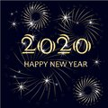 Typography banner gold Happy New Year 2020, congratulation card on on black stock vector illustration design