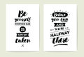 Typography cards set.