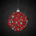 Typography christmas card vector illustration of with bauble Stock Photos