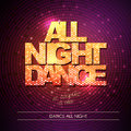 Typography Disco background. All night dance Royalty Free Stock Photo