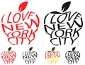 Typography envelope distort vector text I love New York city in Big Apple symbol sign shape. Distorted text I love NYC. T shirt