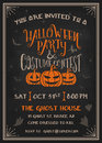 Typography Halloween Party and costume contest Invitation card
