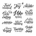 Typography hand writing set. Motivation words and phrase for travelers Royalty Free Stock Photo