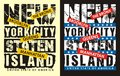 Vintage new york city staten island, vectors Royalty Free Stock Photo
