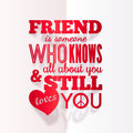 Typography paper design with quote about vector friendship Royalty Free Stock Photography