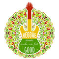 Typography poster with guitar on ornate mandala background.