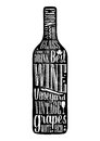 Typography poster lettering text in silhouette Wine bottle. Vintage vector engraving illustration. Advertising design