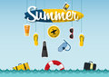 Typography of summer on the beach with icons set of travel in flat design. Vector. Royalty Free Stock Photo