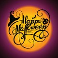 Typography vector illustration. Happy Halloween with cobweb, bat, pumpkin and witch hat