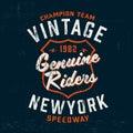 Typography vintage motor brand logo print for t-shirt. Retro artwork vector illustration