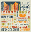 Typography word collage design united states cities vector cloud with many big Royalty Free Stock Photography