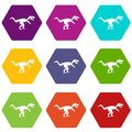 Tyrannosaur dinosaur icon set color hexahedron Royalty Free Stock Photo