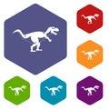 Tyrannosaur dinosaur icons set hexagon