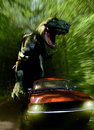 Tyrannosaurus chase rex pursuing a car on a road into a forest Stock Photos