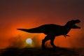 Tyrannosaurus Rex Dinosaur Sunset Illustration