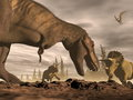 Tyrannosaurus roaring at triceratops d render one two dinosaurs in landscape with trees by brown night Stock Image