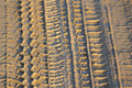 Tyre or tire track in mud a made a surface Royalty Free Stock Images