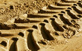Tyre tracks on sand with blur effect. Royalty Free Stock Photo