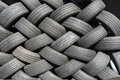 Tyres stacked for reuse Royalty Free Stock Photo