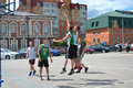 Tyumen street basketball day of youth of competitions in tsvetnoy boulevard Stock Photos