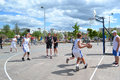 Tyumen street basketball day of youth of competitions in tsvetnoy boulevard Stock Photography